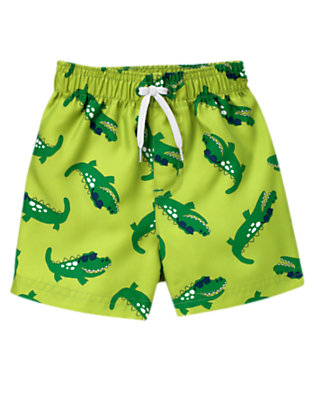 Chartreuse Green Alligator Swim Trunk by Gymboree