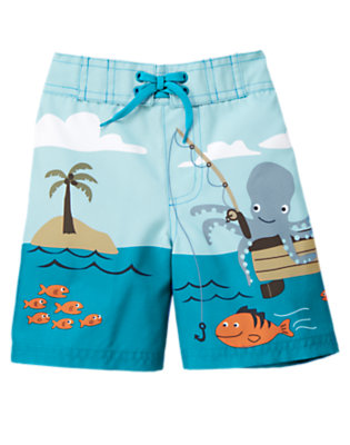 Dark Teal Ocean Scene Swim Trunk by Gymboree
