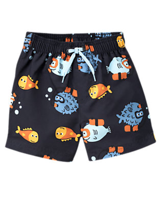 Toddler Boys Gym Navy Blowfish Swim Trunk by Gymboree