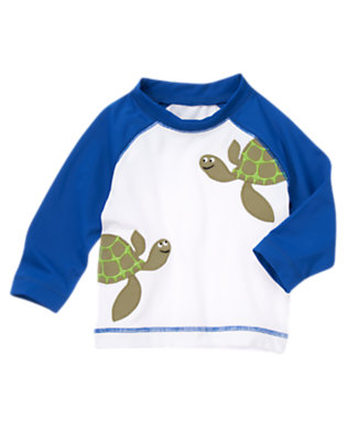 Toddler Boys White Sea Turtle Rash Guard by Gymboree