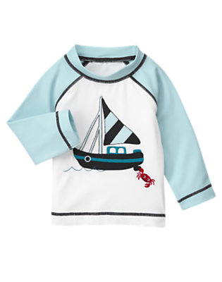 White Crab Sailboat Rash Guard by Gymboree
