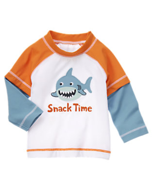 White Happy Shark Rash Guard by Gymboree