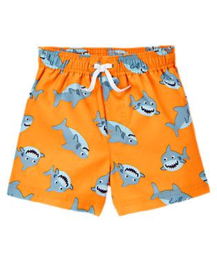 Toddler Boys Orange Happy Shark Swim Trunk by Gymboree
