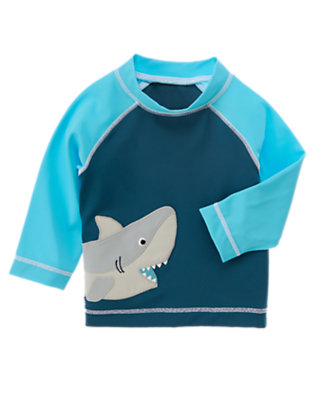 Navy Shark Rash Guard by Gymboree