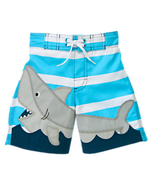 Turquoise Stripe Shark Stripe Swim Trunk by Gymboree