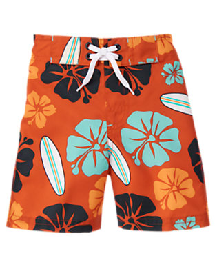 Orange Ochre Floral Surf Floral Swim Trunk by Gymboree