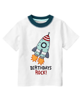 Toddler Boys White Rocketship Birthday Tee by Gymboree