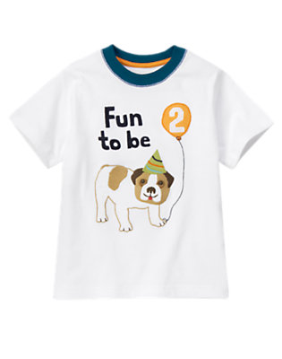Toddler Boys White 2nd Birthday Puppy Tee by Gymboree