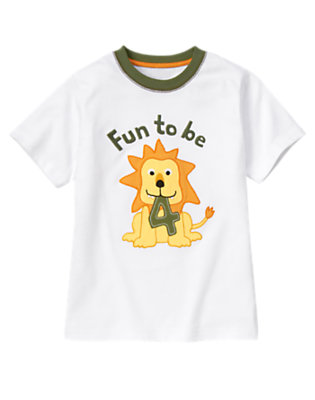Toddler Boys White 4th Birthday Lion Tee by Gymboree