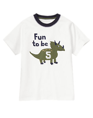 Toddler Boys White 5th Birthday Dino Tee by Gymboree