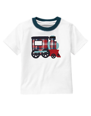Toddler Boys White Train Tee by Gymboree