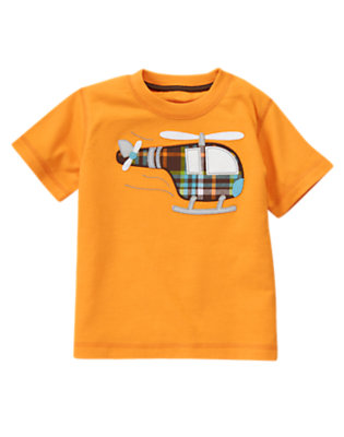 Toddler Boys Carrot Orange Helicopter Tee by Gymboree