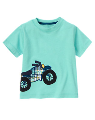 Toddler Boys Sea Blue Motorcycle Tee by Gymboree