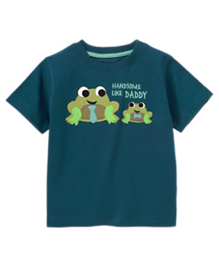 Toddler Boys Dark Teal Handsome Like Daddy Frogs Tee by Gymboree