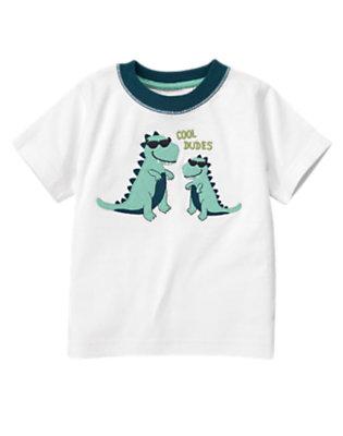 Toddler Boys White Cool Dudes Dino Tee by Gymboree