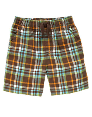 Chocolate Brown Plaid Pull-On Plaid Short by Gymboree