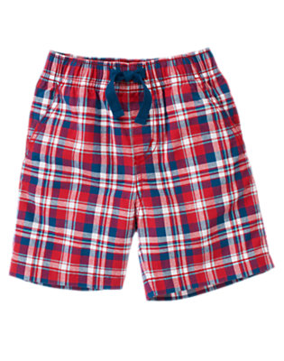 Toddler Boys Baseball Red Check Pull-On Plaid Short by Gymboree
