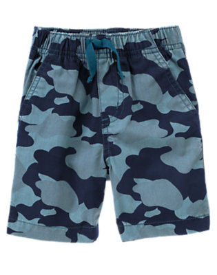 Toddler Boys Dark Teal Camo Pull-On Camo Short by Gymboree