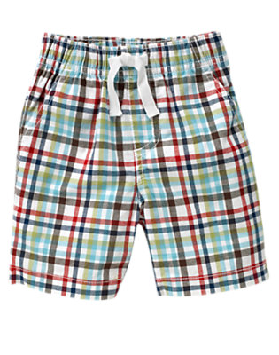 Toddler Boys White Check Pull-On Plaid Short by Gymboree