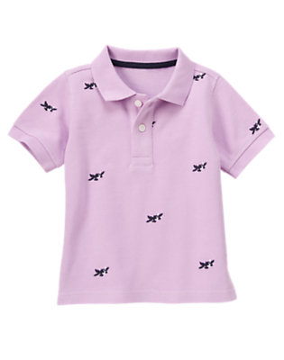 Light Purple Sea Plane Embroidered Pique Polo Shirt by Gymboree