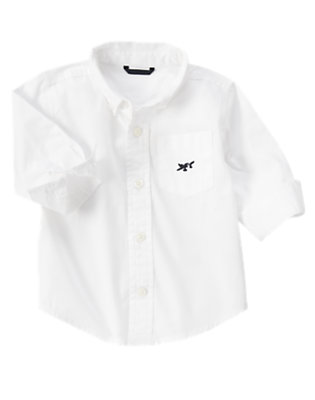 Toddler Boys White Sea Plane Pocket Shirt by Gymboree