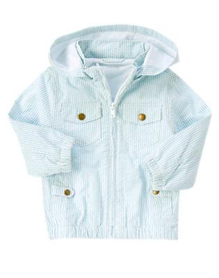 Cloud Blue Stripe Hooded Stripe Seersucker Jacket by Gymboree