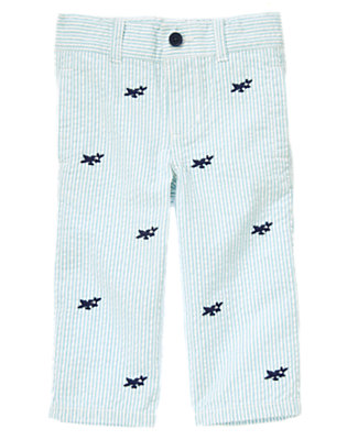 Cloud Blue Stripe Sea Plane Embroidered Stripe Seersucker Pant by Gymboree
