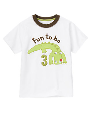 Toddler Boys White 3rd Birthday Alligator Tee by Gymboree