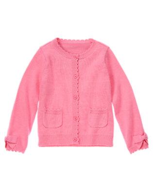 Girls Peony Pink Scalloped Sweater Cardigan by Gymboree