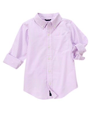 Boys Light Purple Check Gingham Shirt by Gymboree