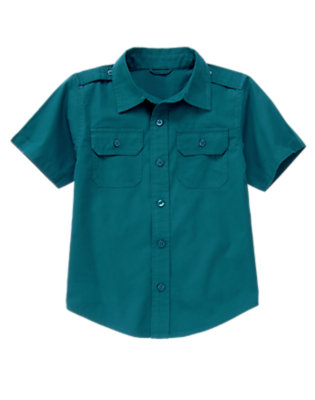 Boys Dark Teal Button Tab Pocket Shirt by Gymboree