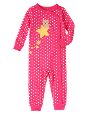 Girls Star Pink Star Kitty One-Piece Gymmies® by Gymboree