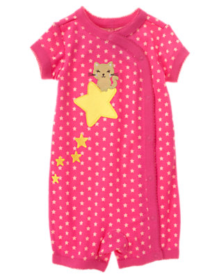 Girls Star Pink Star Kitty Shortie One-Piece Gymmies® by Gymboree