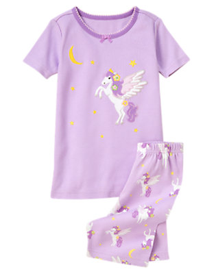 Toddler Girls Celestial Purple Pegasus Shortie Two-Piece Gymmies® by Gymboree