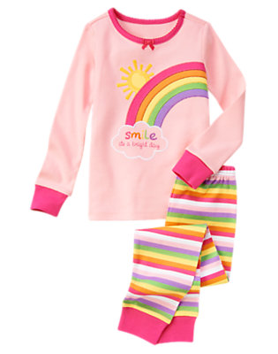 Girls Rainbow Pink Bright Rainbow Two-Piece Gymmies® by Gymboree