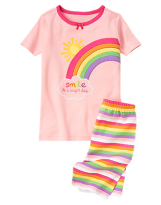 Girls Rainbow Pink Bright Rainbow Shortie Two-Piece Gymmies® by Gymboree