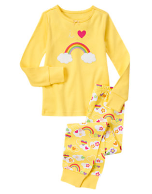 Girls Happy Yellow I Heart Rainbows Two-Piece Gymmies® by Gymboree