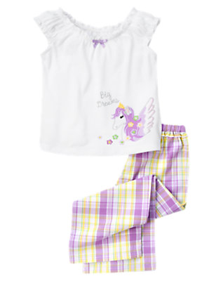 Girls Celestial Purple Plaid Pegasus Two-Piece Pajama Set by Gymboree
