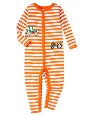 Tractor Orange Stripe Stripe Tractor One-Piece Gymmies® by Gymboree