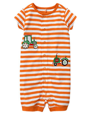 Tractor Orange Stripe Stripe Tractor Shortie One-Piece Gymmies® by Gymboree