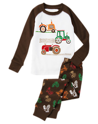 Dark Brown Tractors Two-Piece Gymmies® by Gymboree