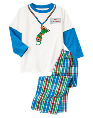Boys Bright Blue Plaid Vet In Training Two-Piece Pajama Set by Gymboree