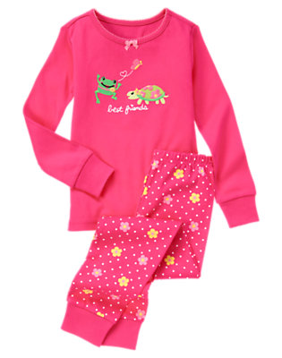 Girls Vibrant Pink Frog & Turtle Two-Piece Gymmies® by Gymboree