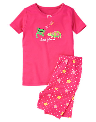Vibrant Pink Frog & Turtle Shortie Two-Piece Gymmies® by Gymboree