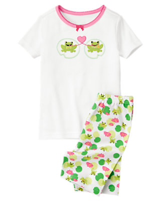 Girls White Frogs & Heart Shortie Two-Piece Gymmies® by Gymboree