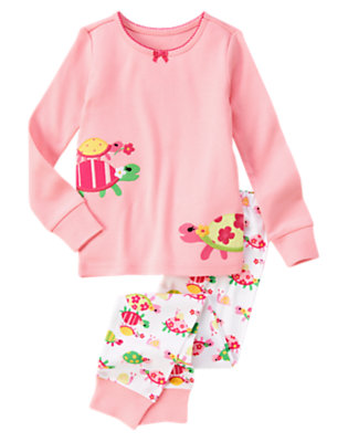 Girls Lily Pink Stacked Turtles Two-Piece Gymmies® by Gymboree