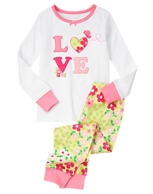 Girls White Love Blossom Two-Piece Gymmies® by Gymboree