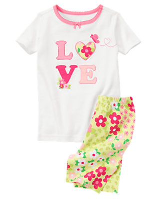 Girls White Love Blossom Shortie Two-Piece Gymmies® by Gymboree