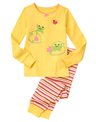 Toddler Girls Bright Yellow Frogs & Water Lilies Two-Piece Gymmies® by Gymboree