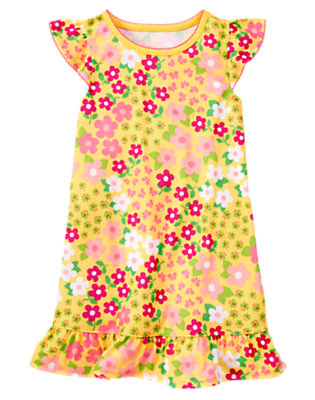 Girls Bright Yellow Floral Flower Pajama Gown by Gymboree